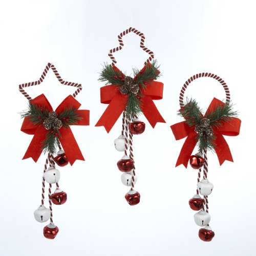 Kurt Adler 14'' Metal Christmas Bell Door Hanging Ornament (Set of 3)