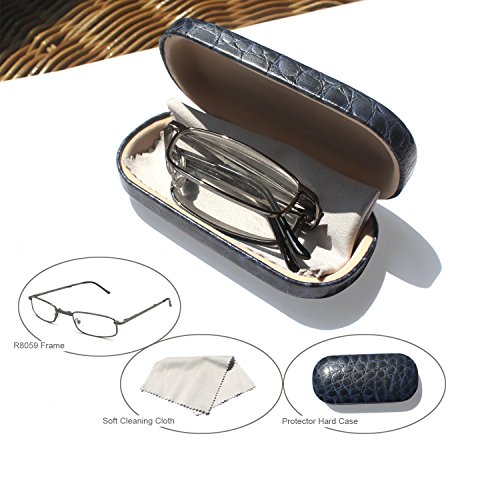 EYE-ZOOM Readers Compact Folding Unisex Glasses for Reading Case Included Comfort Fit for Men and Women Choose Your Magnification, Gunmetal, +1.50 - Optics Design Readers