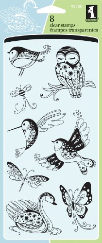 Inkadinkado Clear Stamps, 4 by 8-Inch, Patterned Birds and Bugs