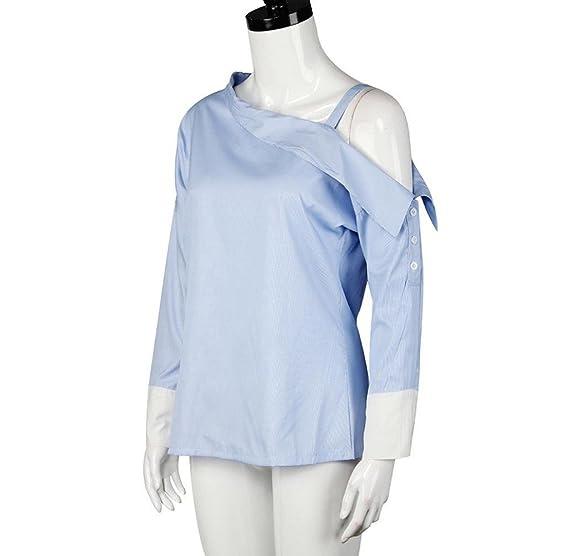 Tongshi Mujeres azul doble rayas hombro asimétrico de manga larga blusa: Amazon.es: Ropa y accesorios