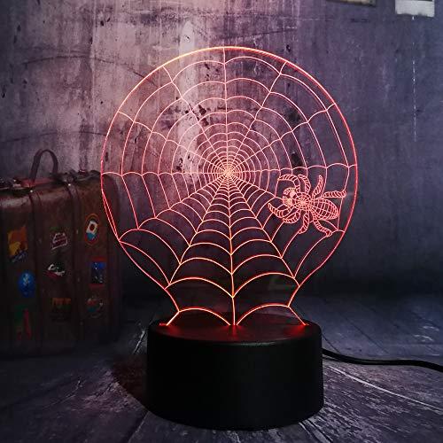 GBBCD Night Light Lustre Hot 3D Halloween Scary Scene Led Night Light Cobweb Spider Web Net Desk Lamp Horror Home Decor Kid Christmas Gift -