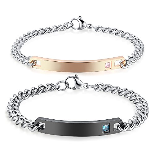 GAGAFEEL Custom Engraved Personalized Crystal Bracelet Men Women Stainless Steel Wrist Bangle Couple Gift (Couples 2)