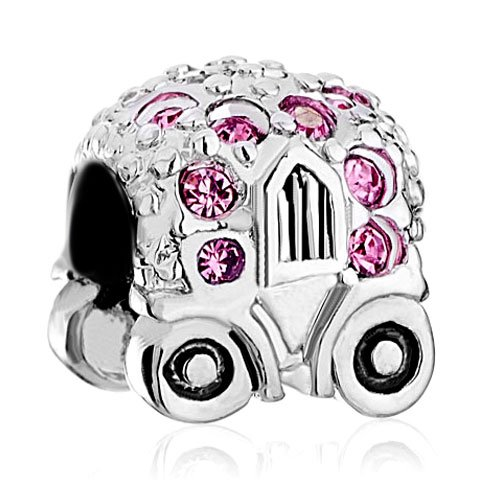 Pugster Cute Pumpkin Car Pink Crystal October Birthstone Gift Beads Fit Pandora Chamilia Biagi Charm Bracelet