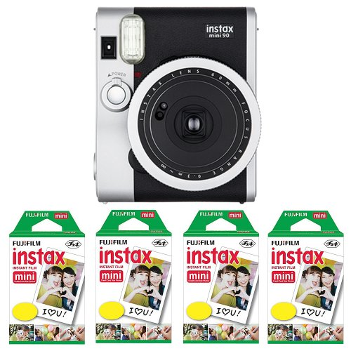 Fujifilm FU64-INSM9K040 Fujifilm INSTAX MINI 90 NEO CLASSIC Camera and Film Kit, 40 Exposures (Black/ Silver)