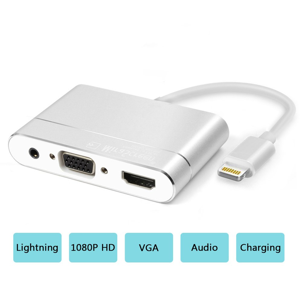 Lightning to HDMI/VGA/AV Adapter, HDMI/VGA Cable Converter, 1080p High Resolution Digital AV Adapter, No App Needed for iPhone X/8/7/6/5/, iPad/iPad pro/mini, iPod with Power Port
