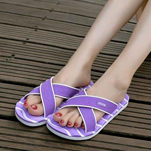 Millya Summer Anti-Slip Cross Indoor Slippers Flip Flops Slip On Beach Pool Slippers Sandals For Men and Women Purple NyDhk8