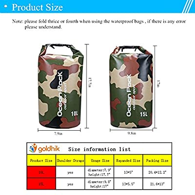 goldhik Waterproof Dry Bag Lightweight Backpack for Camping, Boating,Swimming, Fishing, Kayaking, Rafting, Canoeing, Hiking