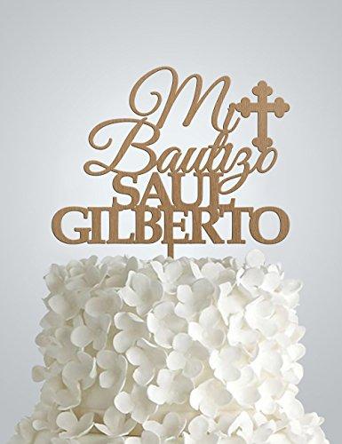 Personalized Mi Bautizo Wood Cake Topper, Baptism Wood Cake Topper, Christening Cake Topper, Any name