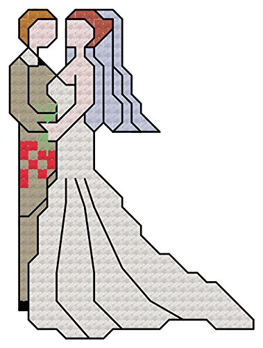 Wedding Day Couple cross stitch chart/ pattern: For making your own cross stitch for cards or to put in a frame, great for weddings/ anniversaries etc.