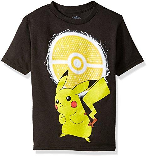 Pokemon Little Boys Pikachu and Poke Ball Short-Sleeved Tee, black, 5/6 (Pokemon T-shirt Tee)