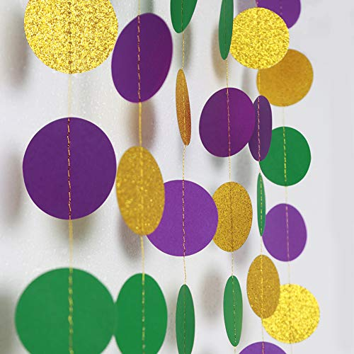 Gold Purple Green Circle Dots Garland Kit Mardi Gras Decoration Paper Bead Polk Dot Streamers Fat Tuesday/Shrove Tuesday Hanging Bunting Banner Backdrop Party Supplies for Baby Shower/Wedding/Birthday -