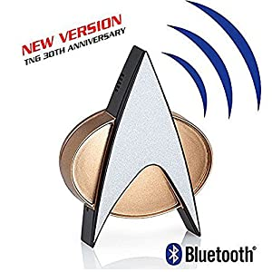 Star Trek Next Generation Bluetooth Communicator Badge – TNG Combadge with Chirp Sound Effects Microphone & Speaker – Enterprise Memorabilia, Gifts, Collectibles, Gadgets & Toys for Star Trek Fans