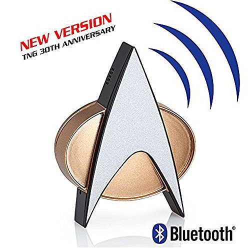 Star Trek Next Generation Bluetooth Communicator Badge - TNG Combadge with Chirp Sound Effects Microphone & Speaker - Enterprise Memorabilia, Gifts, Collectibles, Gadgets & Toys for Star Trek Fans ()