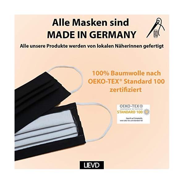 LIEVD-Mundschutz-Maske-100-Baumwolle-Made-in-Germany-OEKO-TEX-100-Gesichtsmaske-waschbar-Mund-und-Nasenschutz-wiederverwendbar-Behelfsmaske-2-lagig