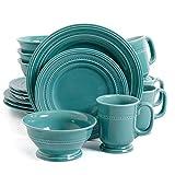 Gibson Barberware 16 Piece Dinnerware Set, Turquoise
