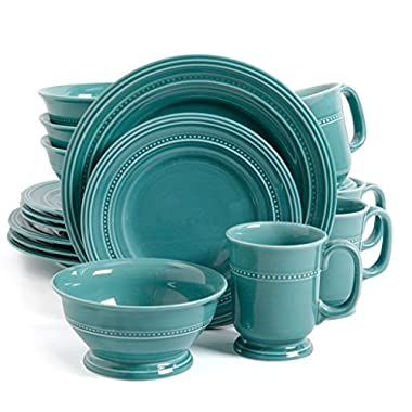 Gibson Barberware 16 Piece Dinnerware Set, Turquoise