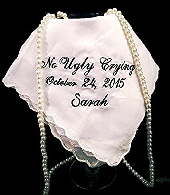 No Ugly Crying Personalized Wedding Handkerchief/Napkin With a Name and Date by Wedding Tokens.
