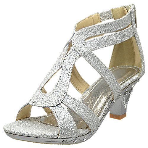 Kids Dress Sandals Glitter Cutout Heart High Heel Pageant Shoes Silver 2 - Kids High Heel Shoes