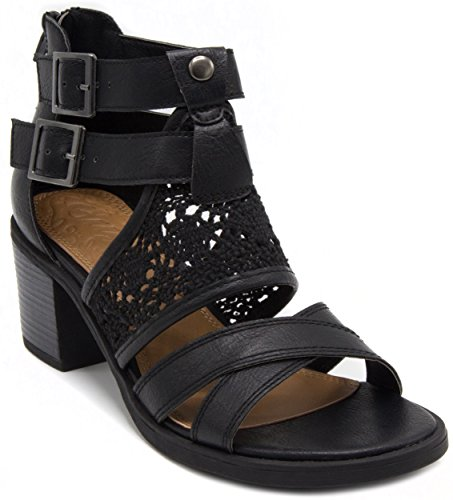 Sugar Women's Heyney Heeled Crochet Sandal with Straps and Buckles 8 Black ()