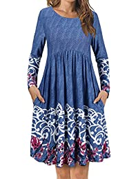 Women's T Shirt Dress with Pockets,Long Sleeve Floral Pleated A Line Swing Dress