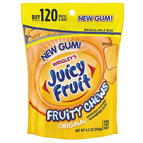 JUICY FRUIT Gum Fruity Chews Sugarfree Chewing Gum, 120 Pieces