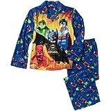 Lego Super Heroes Boys Flannel Coat Style Pajamas (6/7, Blue)