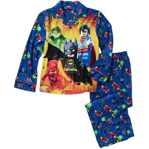 Lego Super Heroes Boys Flannel Coat Style Pajamas (6/7, Blue) by LEGO (Image #1)