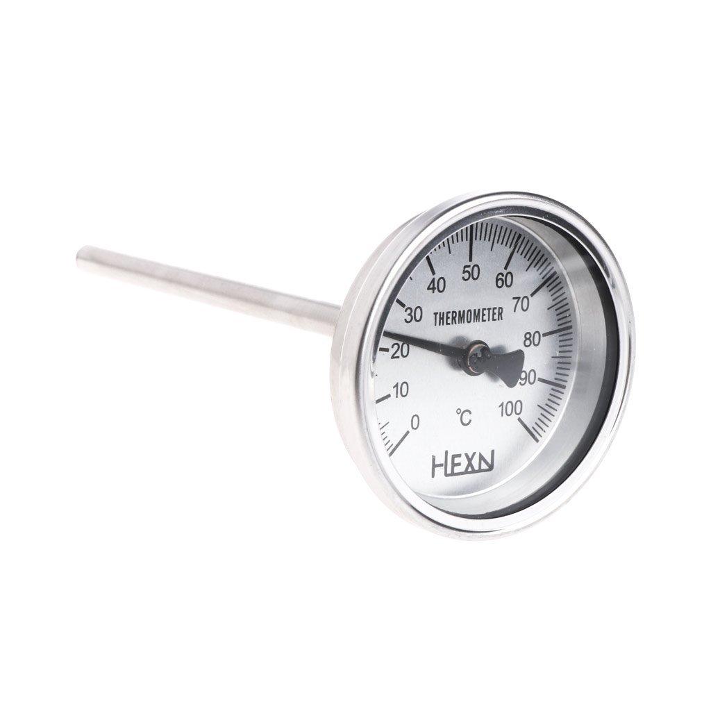 Sixsons Stainless Steel Bi-metallic Thermometer 1/4PT Thread L=100mm 0~50~300℃ WSS-303 (#042) (300)