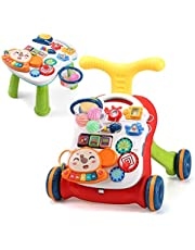 CUTE STONE Sit-to-Stand Learning Walker, 2 in 1 Baby Walker, Kids Early Educational Activity Center, Multifunctional Removable Play Panel, Baby Music Learning Toy Gift for Infant Boys Girls