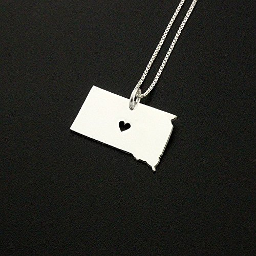 South Dakota necklace Personalized sterling silver South Dakota state necklace with heart Hometown Jewelry best friend Gift - family gift long distance relationship gifts pendant