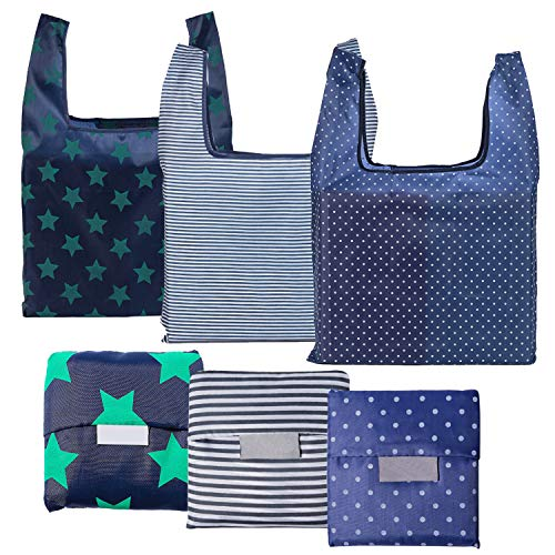 6-Pack-Reusable-Grocery-Bags-Foldable-Eco-Friendly-Shopping-Tote-Washable-Waterproof-Durable-and-Lightweight