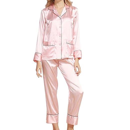 Xinvision Silk Long Sleeve Pyjamas Set Sleepwear Nightwear Loungewear for Women at Amazon Womens Clothing store: