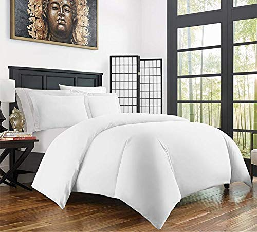 Brushed Bamboo - Zen Home Luxury Ultra Soft 3-Piece 1800 Rayon Derived from Bamboo Duvet Cover Set -Hypoallergenic and Wrinkle Resistant - King/Cal King - White