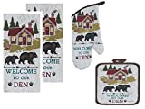 4 Piece Welcome to Our Den Kitchen Linen Set - 2 Terry Towels, Oven Mitt, Potholder