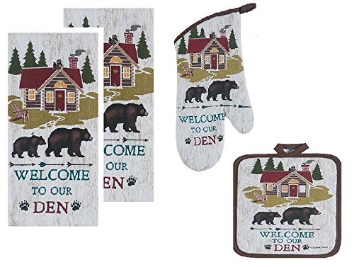 4 Piece Welcome to Our Den Kitchen Linen Set - 2 Terry Towels, Oven Mitt, Potholder by Kay Dee