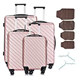 4 Pcs Luggage Set Trolley Spinner Suitcase Hardshell Travel Bag 18' 20' 24' 28' W/Covers& Hangers (Rose Gold)