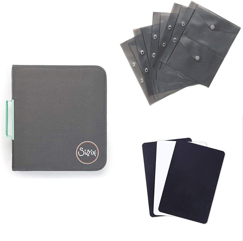 Sizzix Paquete de almacenamiento de troqueles, solución de almacenamiento de troqueles, plaquitas de almacenamiento y hojas de magentic
