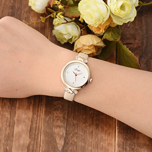Top Plaza Women Fashion Watches Leather Band Luxury Analog Quartz Watches Girls Ladies Wristwatch - White by Top Plaza (Image #1)