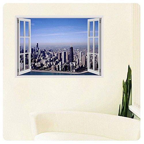 Alonline Art - Chicagos Skyline Fake 3D Window POSTER PRINTS ROLLED (Print on Fine Art PHOTO PAPER) Cyber Monday 17