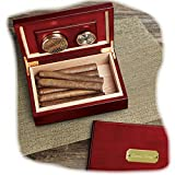 Engraved Cherry Wood Humidor for Cigars GROOMSMAN GIFTS