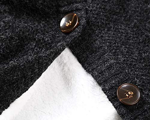Sidefeel Women Hooded Sweater Cardigans Button Knit Coat Outwear XX-Large Black by Sidefeel (Image #3)