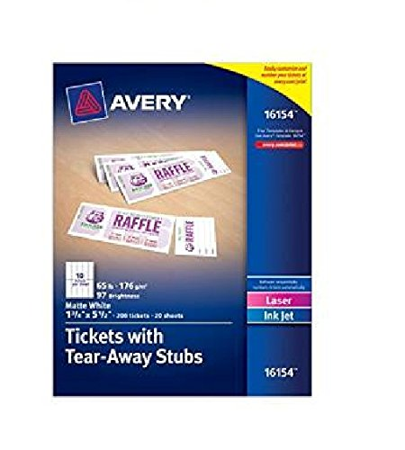 Avery Tickets with Tear-Away Stubs, 1.75 inches x 5.5 inches, Matte White, Pack of 2 = 400 Tickets