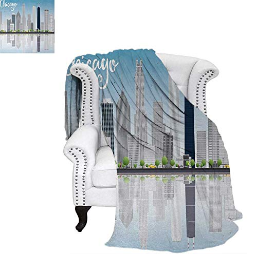 "Warm Microfiber All Season Blanket for Bed or Couch Skyscrapers Lake Michigan Illinois Classic American Scenery Street Throw Blanket 80""x60"" Baby Blue Pale Grey"