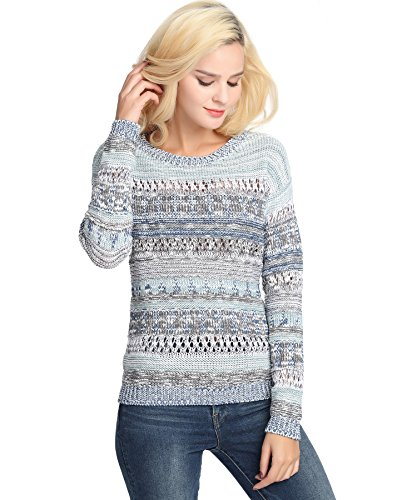 YTUIEKY Women's Fashion Stripe Sweater Knit Top Long Sleeve Round Neck Knits Sweater Pullover Blue (Round Neck Knit Sweater)