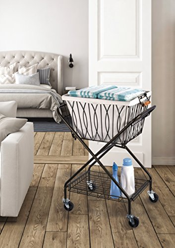 "Artesa 5187033 Verona Collapsible Metal Laundry Cart with Removable Basket & Canvas Bag, 20.5"" L x 16.2"