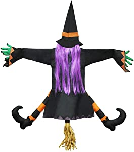 JOYIN Crashing Witch into Tree Halloween Decoration
