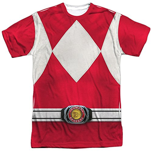 [Power Rangers Children's Live Action TV Series Red Costume Adult 2Side Print Tee] (Yellow Power Ranger Costumes Child)