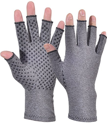 Woogwin Arthritis Compression Gloves - Open Gloves for Relief of Rheumatoid & Osteoarthritis Joint Pain, Fingerlss Hand Non-Slip Gloves for Typing Computer and Daily Work for Men & Women (Gray, L) by woogwin