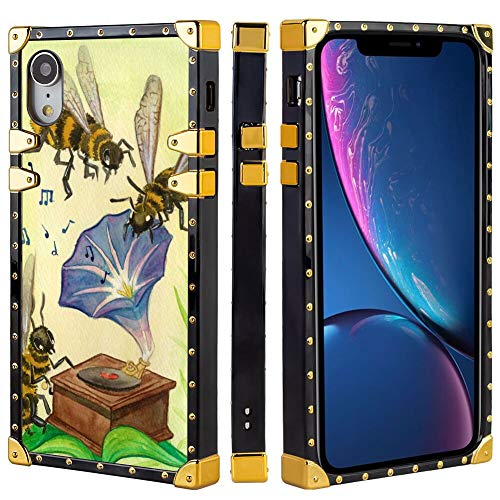 Square Phone Case Compatible with Apple iPhone Xr 6.1 Inch Morning Glory Flower with Bee ()