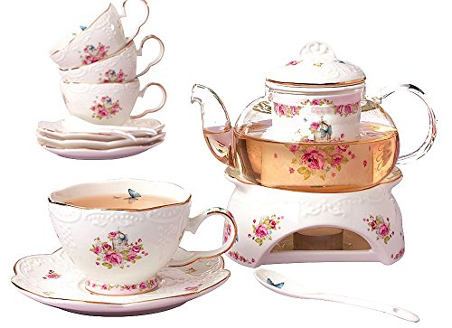 Jusalpha Fine China Porcelain Coffee Cups Flower Series Teacup Saucer Spoon with Teapot Warmer & Filter, 16pcs in 1 set (16pcs set)